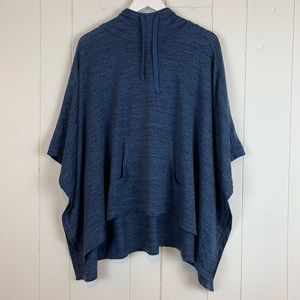 Xersion Poncho Sweater Medium Batwing Sleeves Blue
